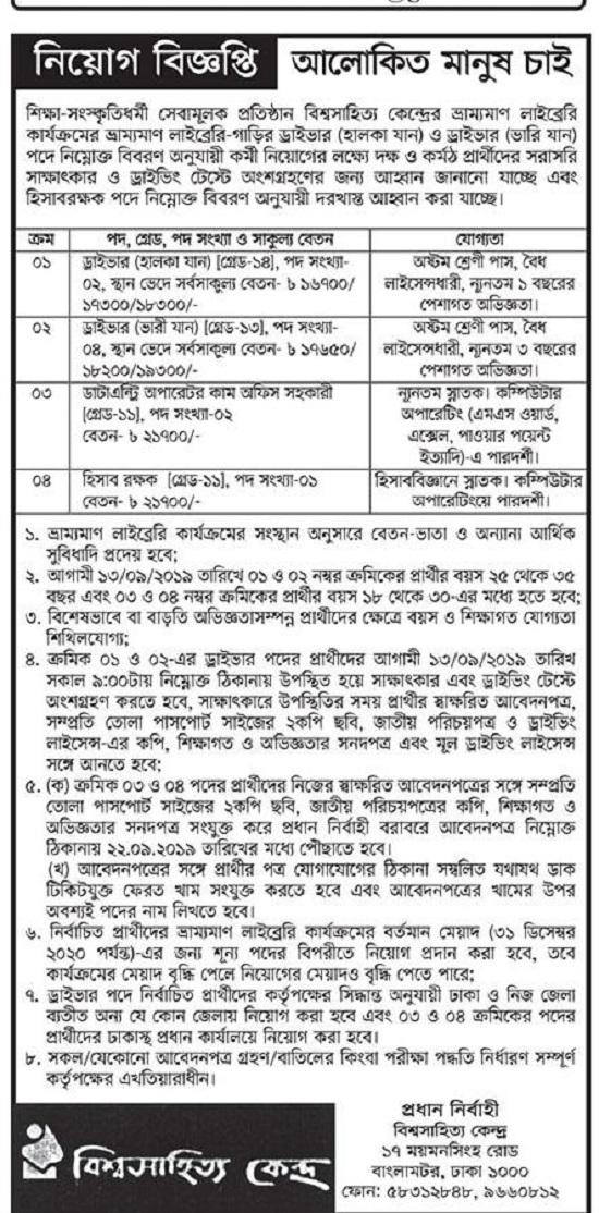 Bishwo Shahitto Kendro Job Circular 2019