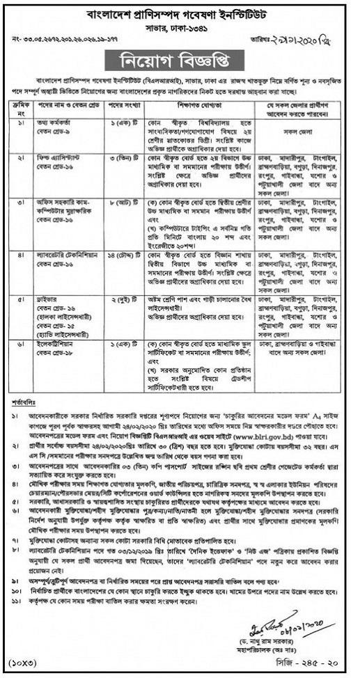 Department of Livestock Services Job Circular 2020
