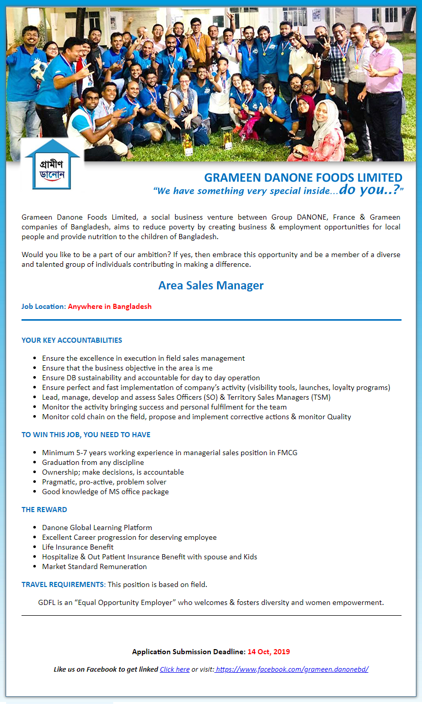 Grameen Danone Foods Ltd Job Circular 2019