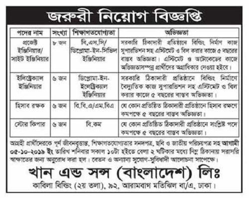 Khan and Sons Bangladesh Ltd Job Circular 2019