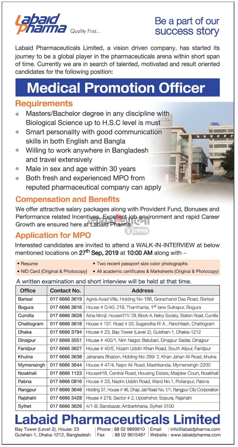 Labaid Pharmaceuticals Limited Job Circular 2019