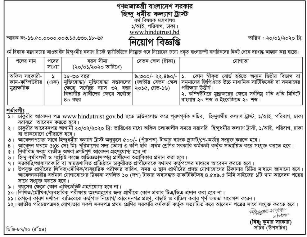 Ministry of Religious Affairs Job Circular 2020