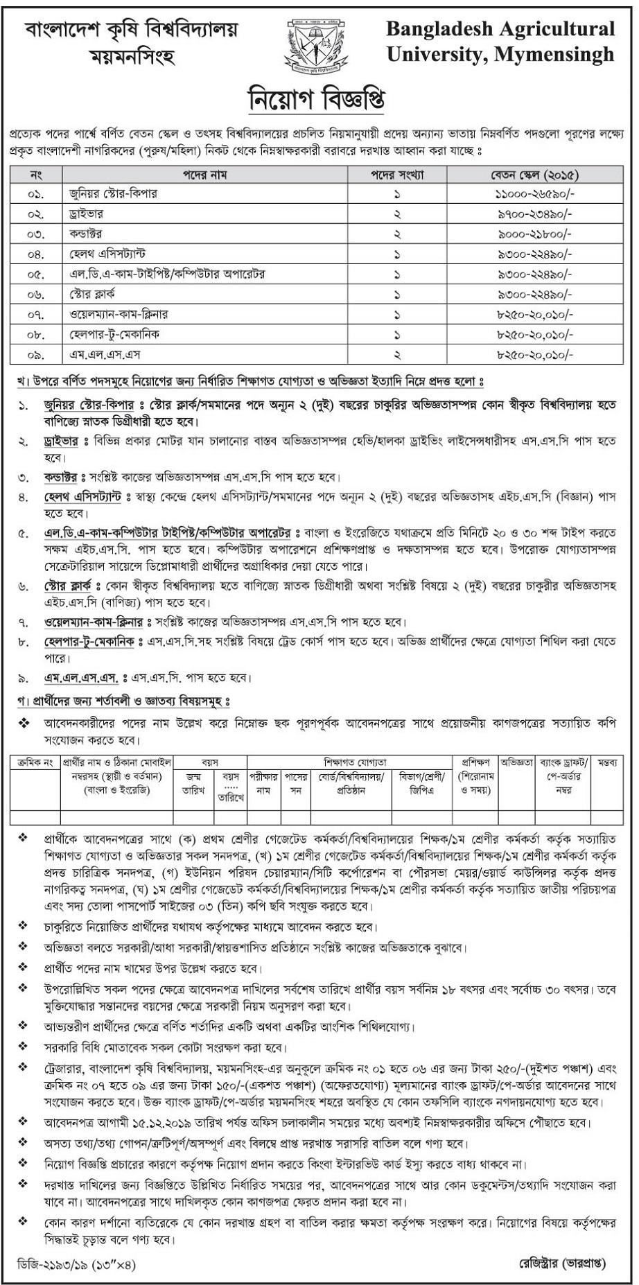 Bangladesh Agricultural University Job Circular 2019