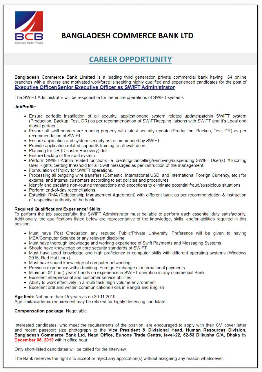 Bangladesh Commerce Bank Ltd Job Circular 2019