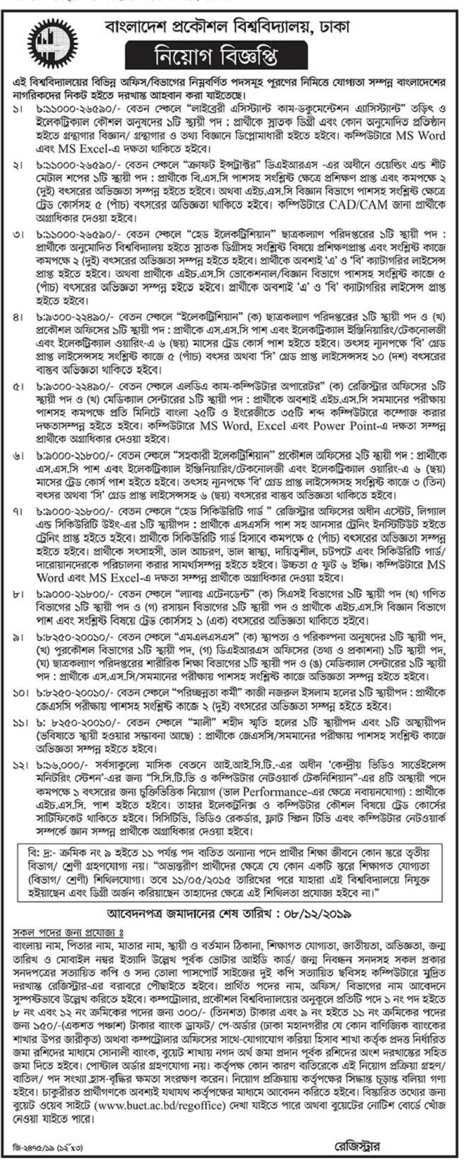 Bangladesh University of Engineering and Technology (BUET) Job Circular 2019