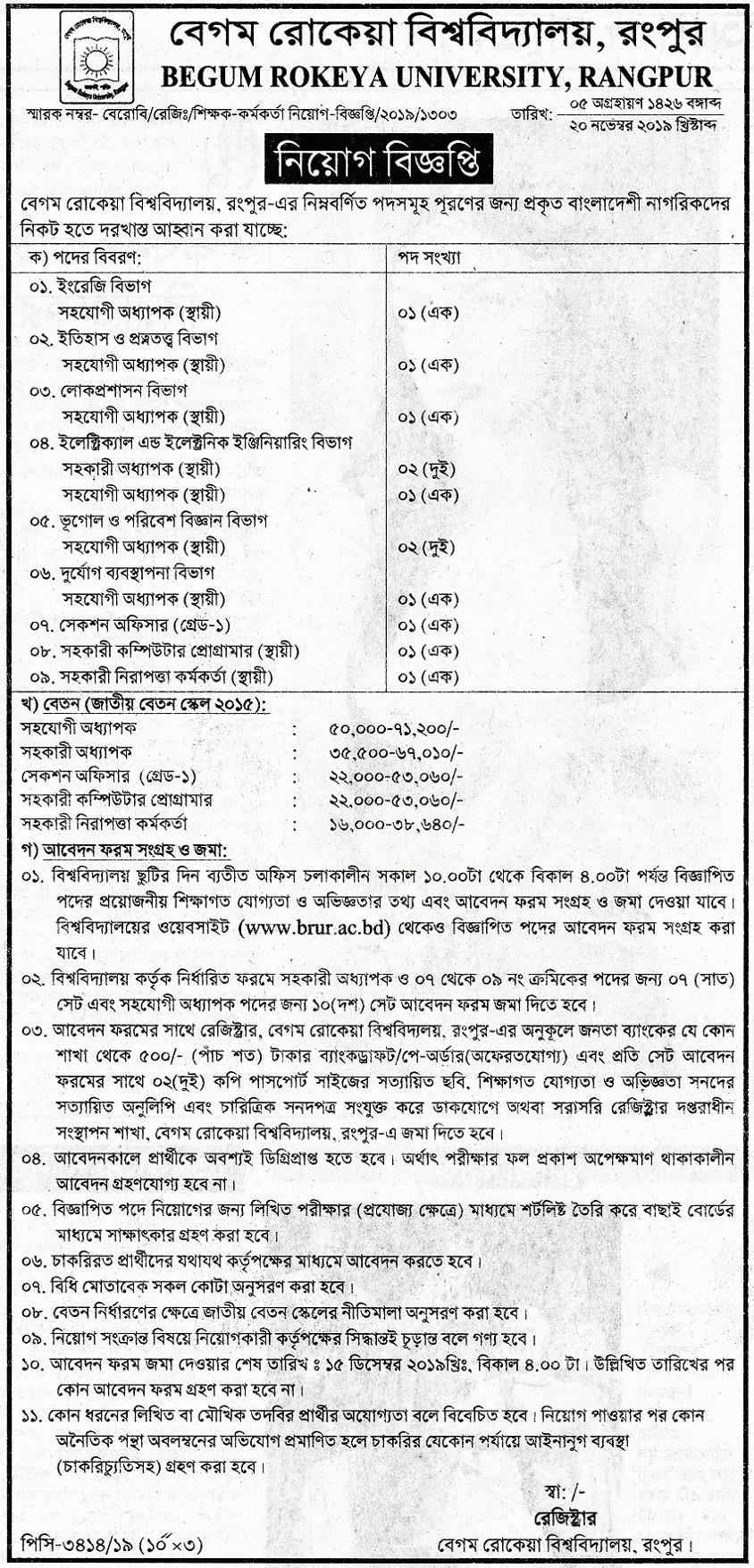 Begum Rokeya University Job Circular 201