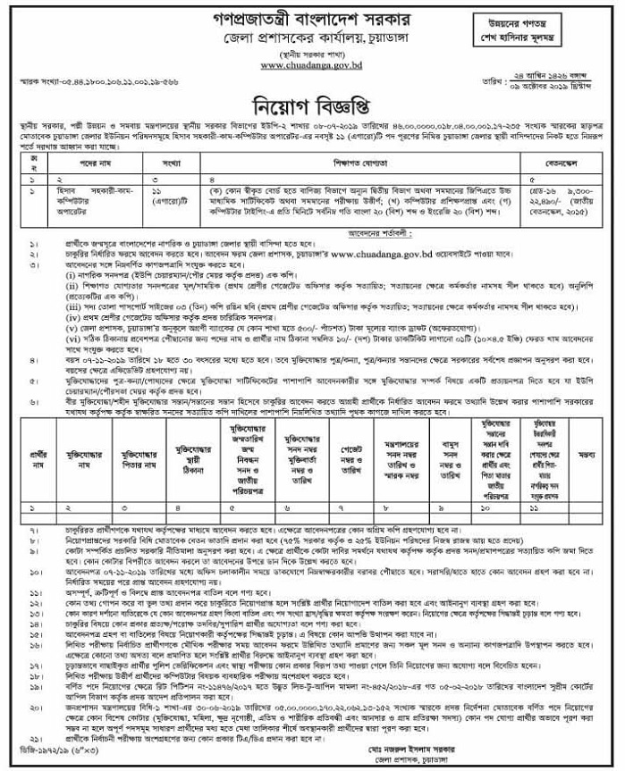 Chuadanga Deputy Commissioner's Office Job Circular 2019
