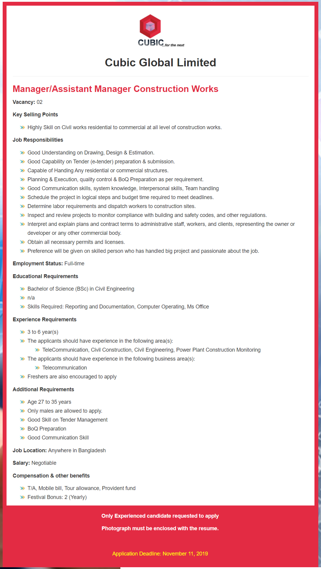 Cubic Global Limited Job Circular 2019