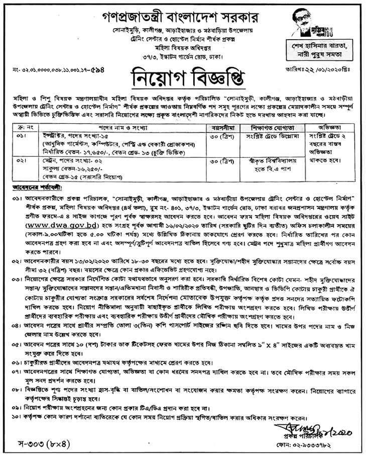 Women and Children Affairs Job Circular 2020