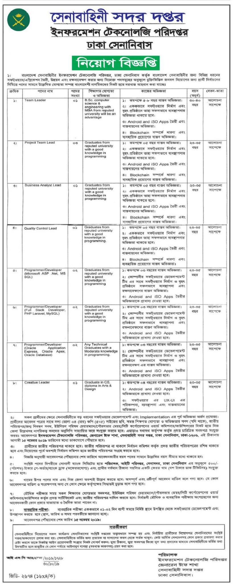 Dhaka Cantonment Job Circular 2019