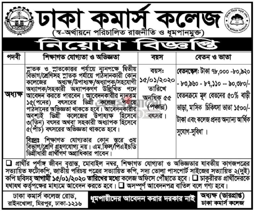 Dhaka Commerce Collage Job Circular 2020