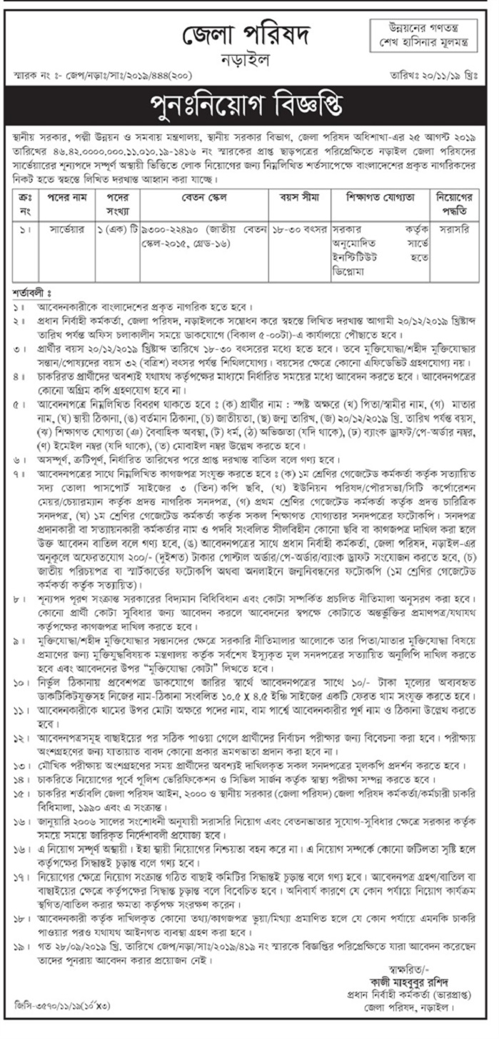 District Council Office Job Circular 2019