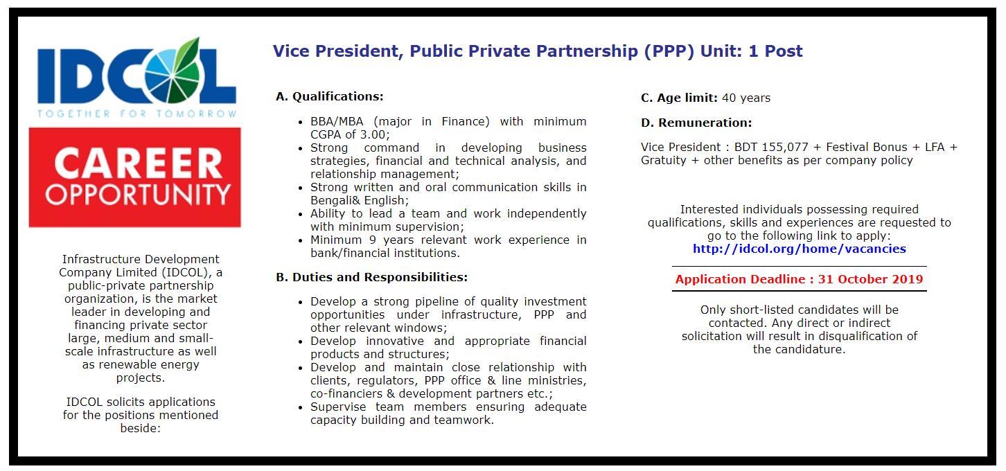 Infrastructure Development Company Limited Job Circular 2019
