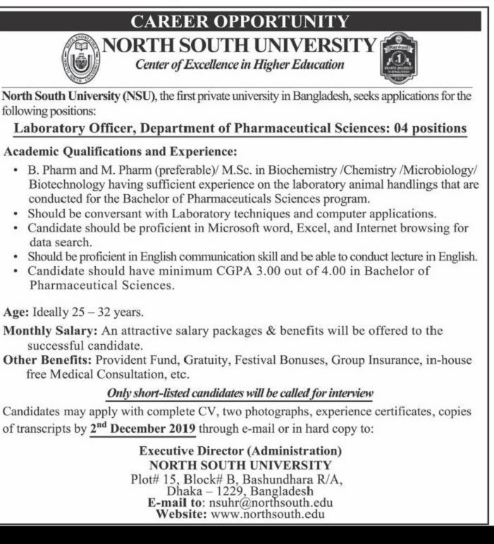 North South University Job Circular 2019