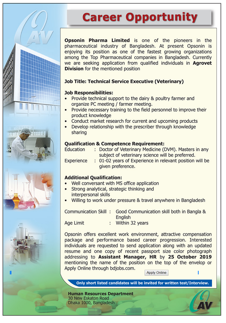 Opsonin Pharma Limited Job Circular 2019