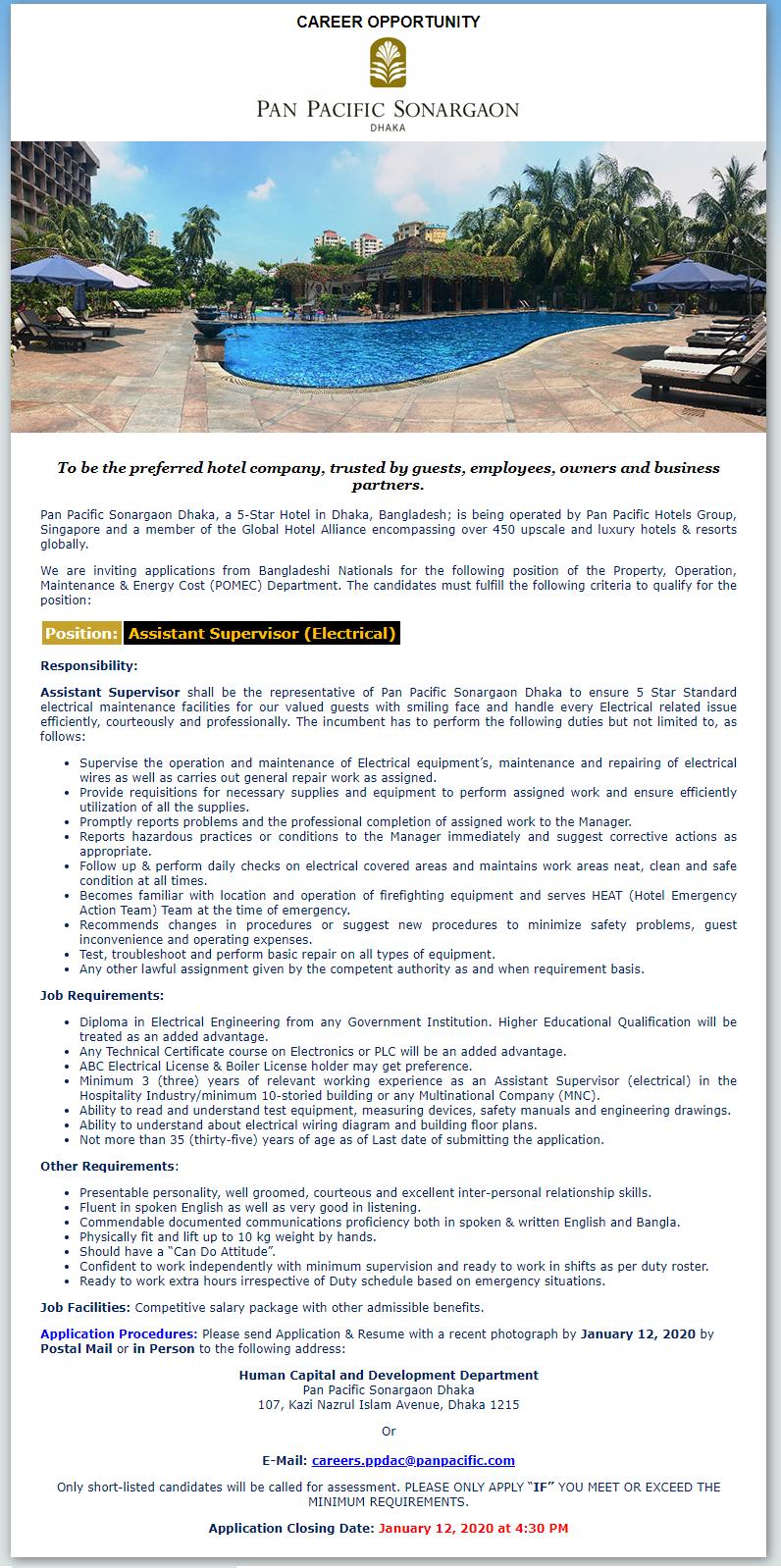 Pan Pacific Sonargaon Hotels and Resorts Job Circular 2020