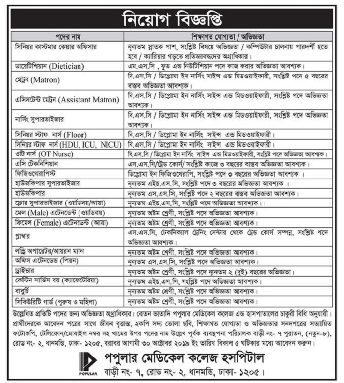 Popular Pharmaceuticals Ltd Job Circular 2019