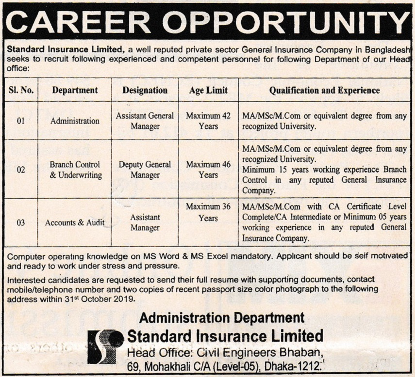 Standard Insurance Limited Job Circular 2019