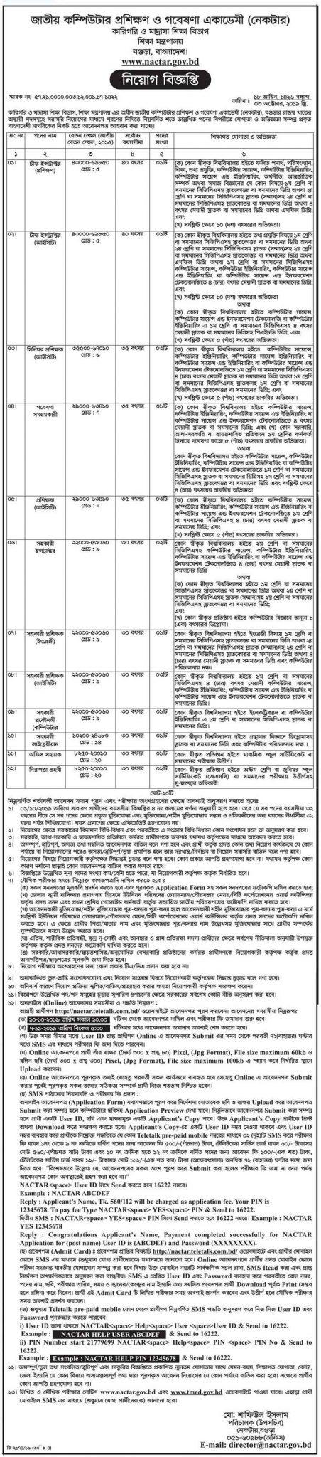 Technical and Madrasah Education Division Job Circular 2019