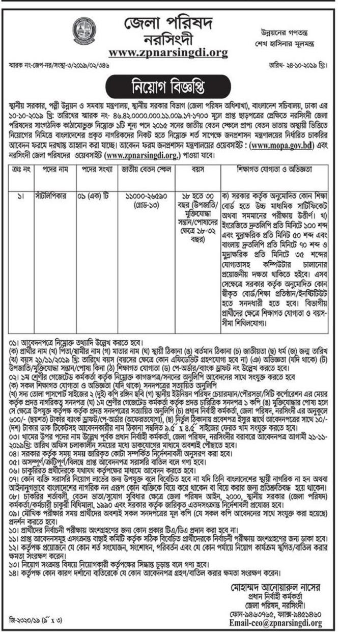 Zilla Parishad Office Job Circular 2019
