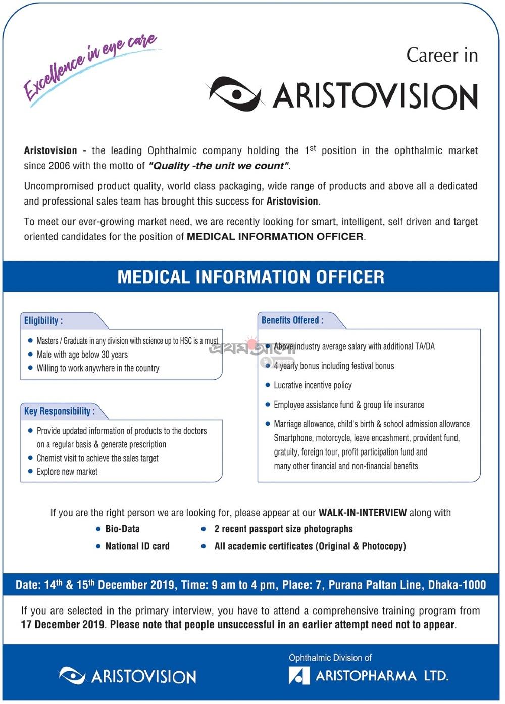 Aristopharma Ltd Job Circular 2019