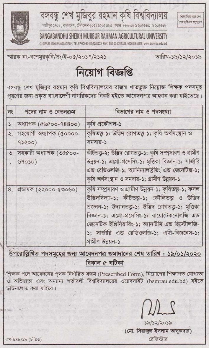 Bangabandhu Sheikh Mujibur Rahman Agricultural University Job Circular 2020
