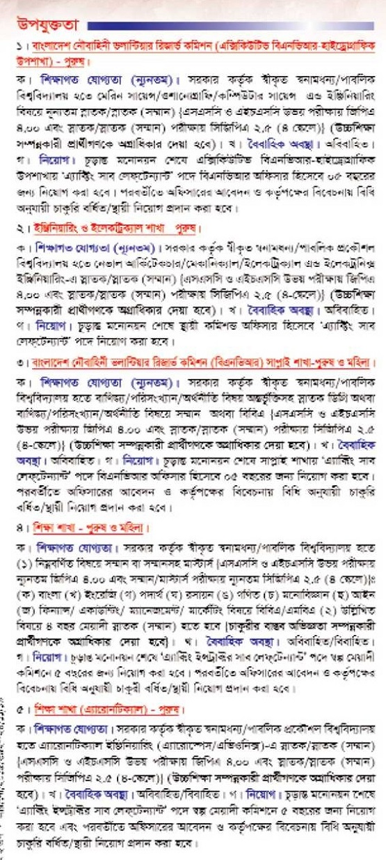 Bangladesh Navy Commissioned Officer Job Circular 2019