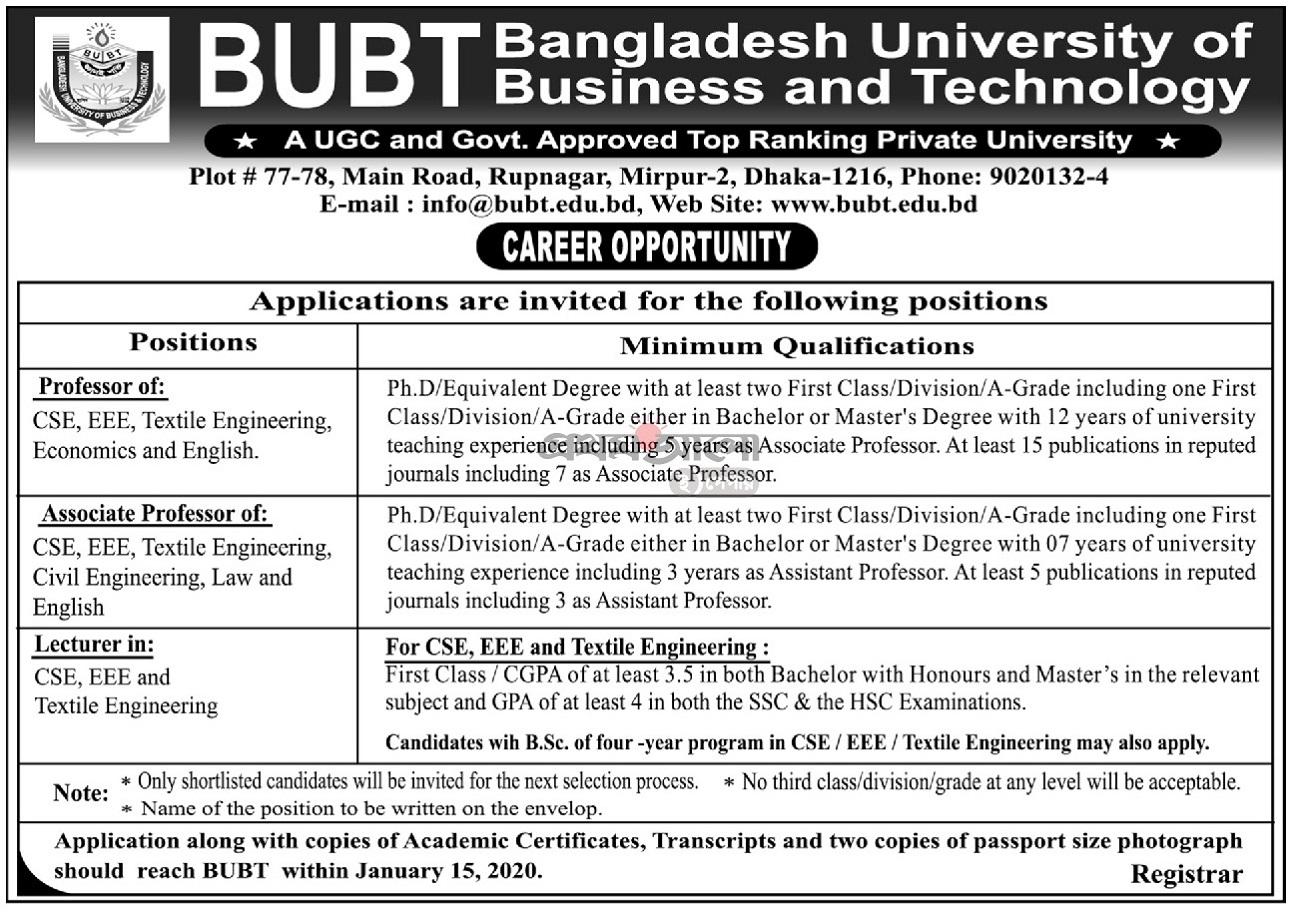Bangladesh University of Business and Technology (BUBT) Job Circular 2020