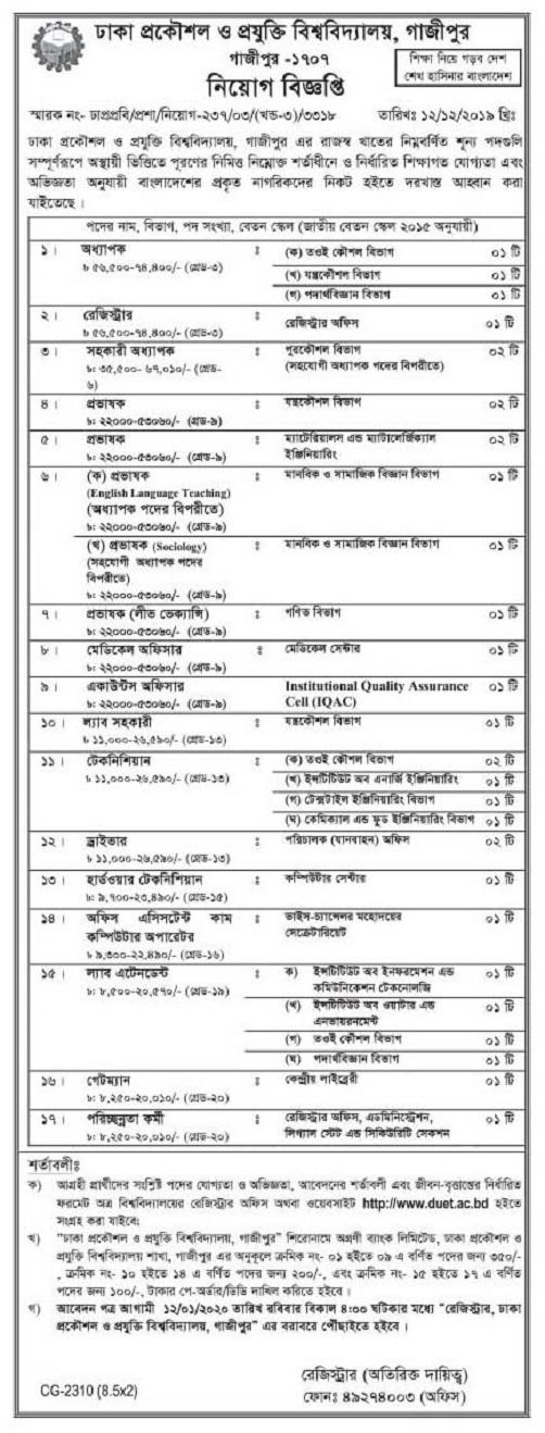 Bangladesh University of Engineering and Technology (BUET) Job Circular 2020