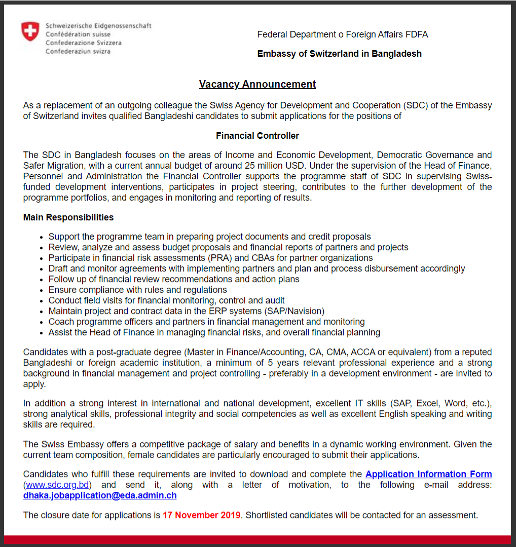 Embassy of Switzerland in Bangladesh Job Circular 2019