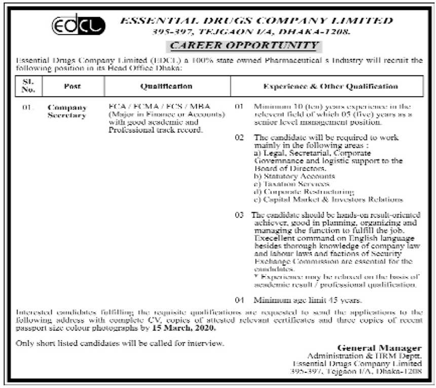 Essential Drugs Company Limited Job Circular 2020