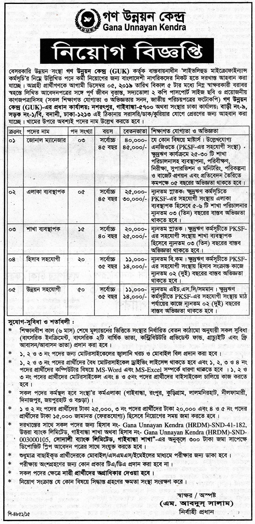 Gana Unnayan Kendra (GUK) Job Circular 2019