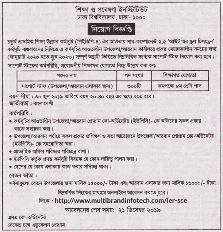 Institute of Education and Research Job Circular 2019