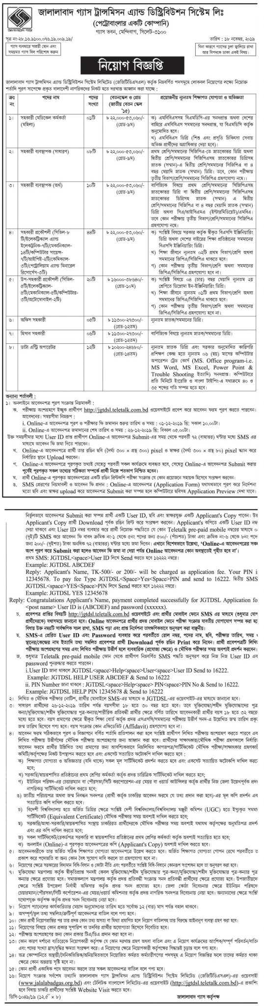 Jalalabad Gas Transmission and Distribution Company Ltd Job Circular 2019