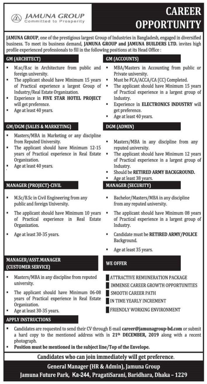 Jamuna Group Limited Job Circular 2019