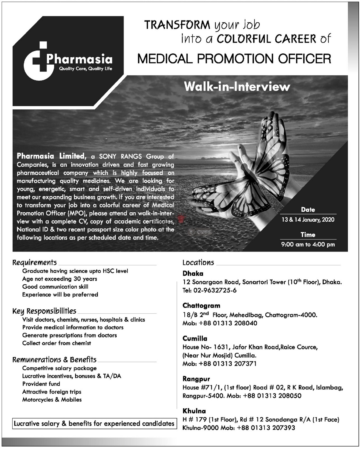 Pharmasia Limited Job Circular 2020