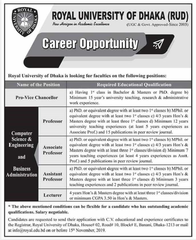 Royal University of Dhaka (RUD) Job Circular 2019