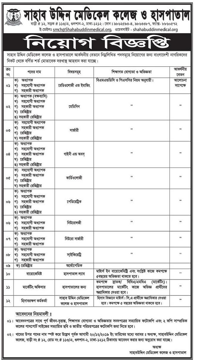 Shahabuddin Medical College and Hospital Job Circular 2019