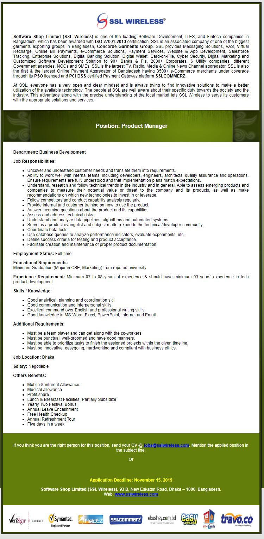 Software Shop Limited (SSL Wireless) Job Circular 2019