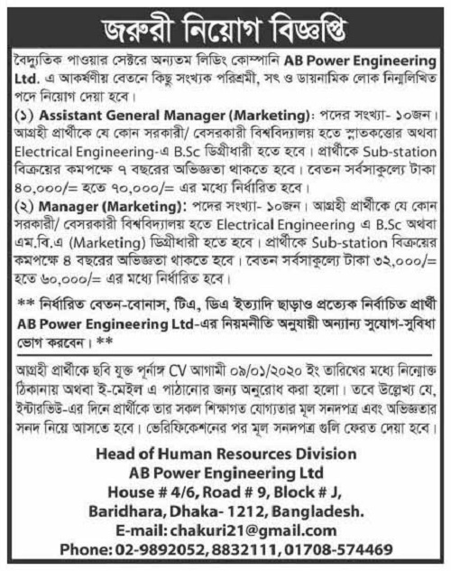 AB Power Engineering Ltd Job Circular 2020