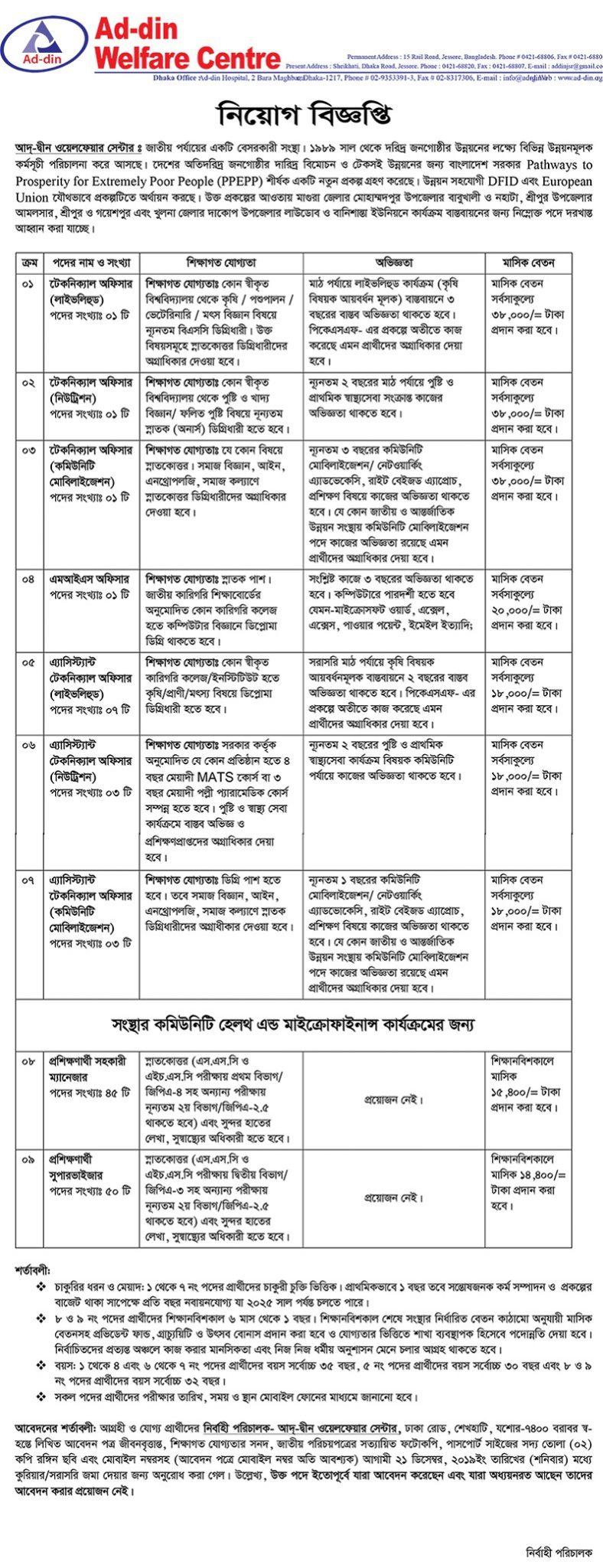 Ad-din Foundation Job Circular 2019