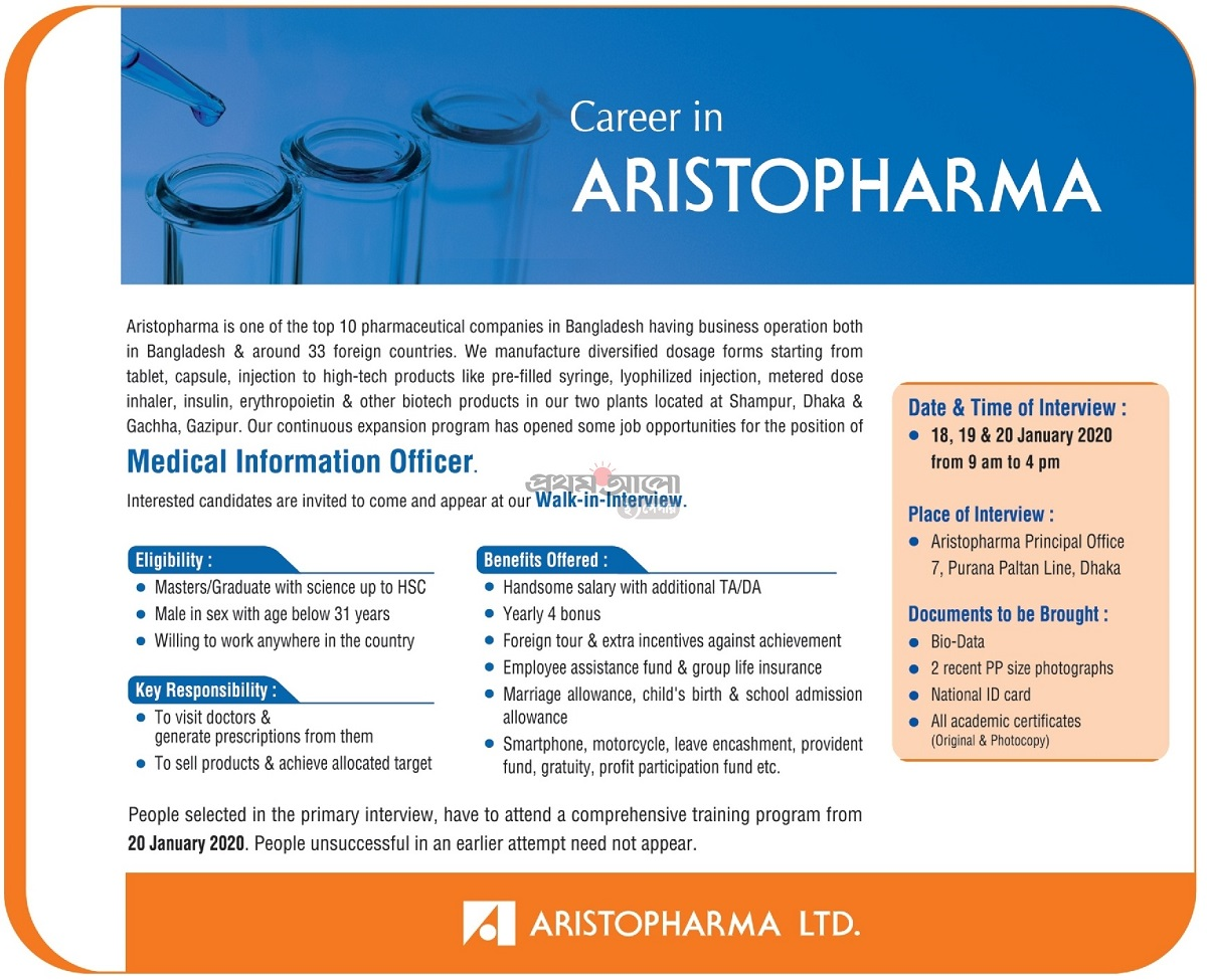 Aristopharma Ltd Job Circular 2020