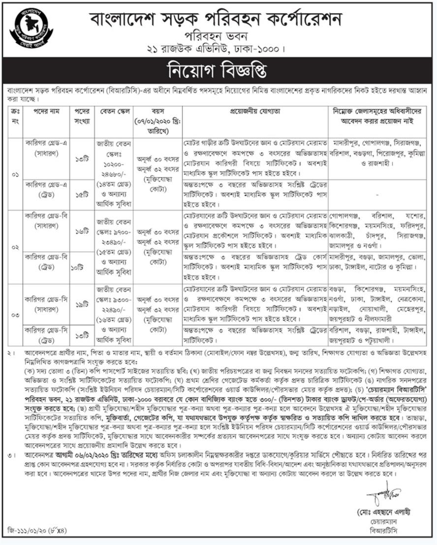 Bangladesh Road Transport Corporation (BRTC) Job Circular 2020