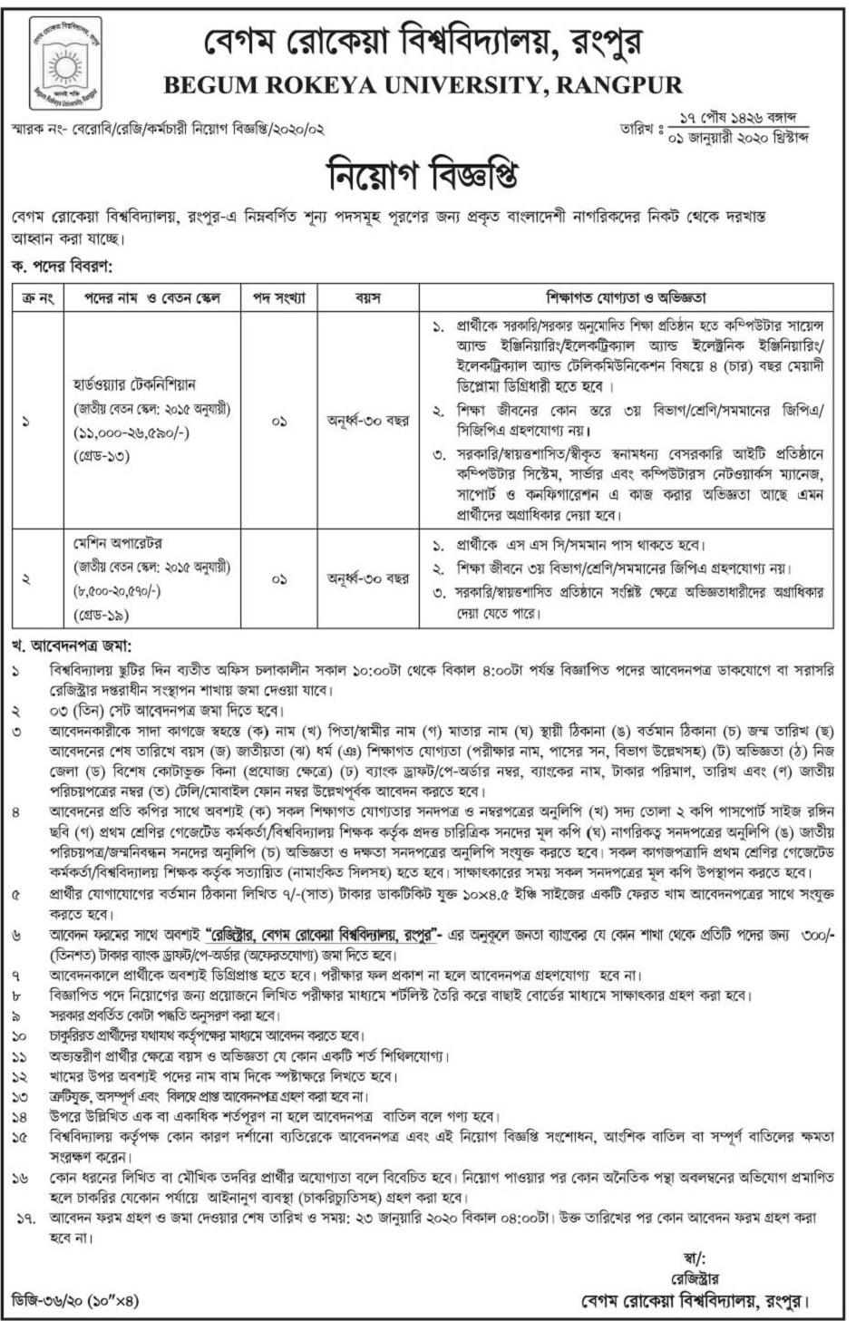 Begum Rokeya University Job Circular 2020