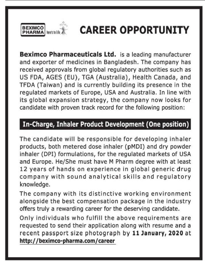 Beximco Pharmaceuticals Jobs Circular 2020