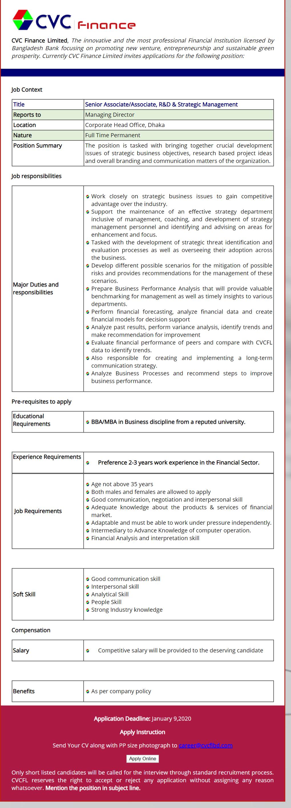 CVC Finance Limited Job Circular 2020