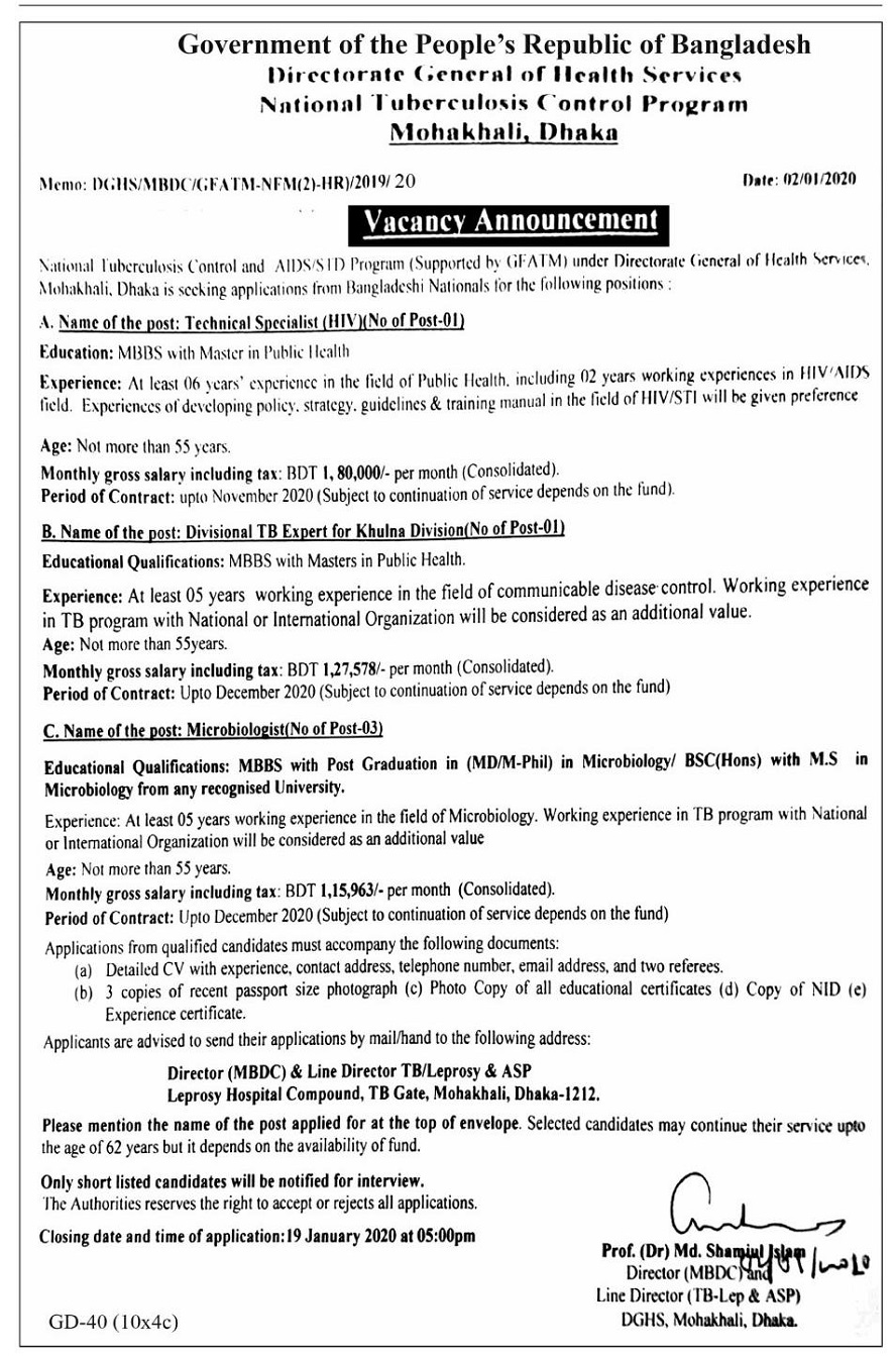 Union Health and Family Welfare Job Circular 2020