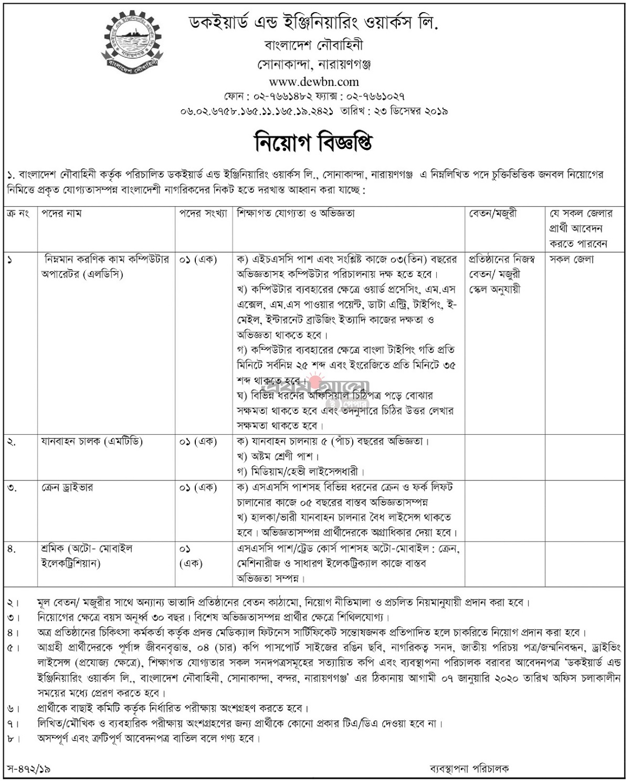 Dockyard and Engineering Works Limited Job Circular 2020