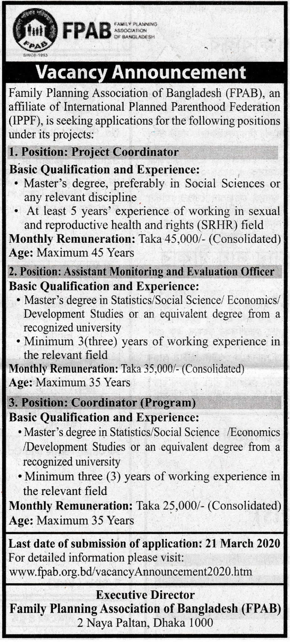 Family Planning Association of Bangladesh (FPAB) Job Circular 2020