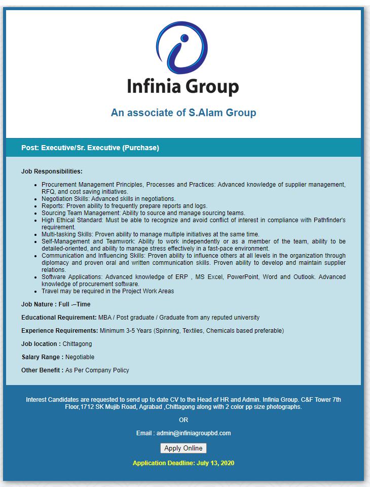 Infinia Spinning Mills Limited Job Circular 2020